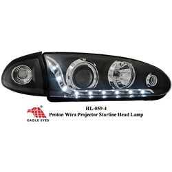 PROTON WIRA SATRIA PUTRA SATRIA GTI ARENA EAGLE EYES Chrome Trim Starline Daylight Projector Head Lamp [HL-059-4]